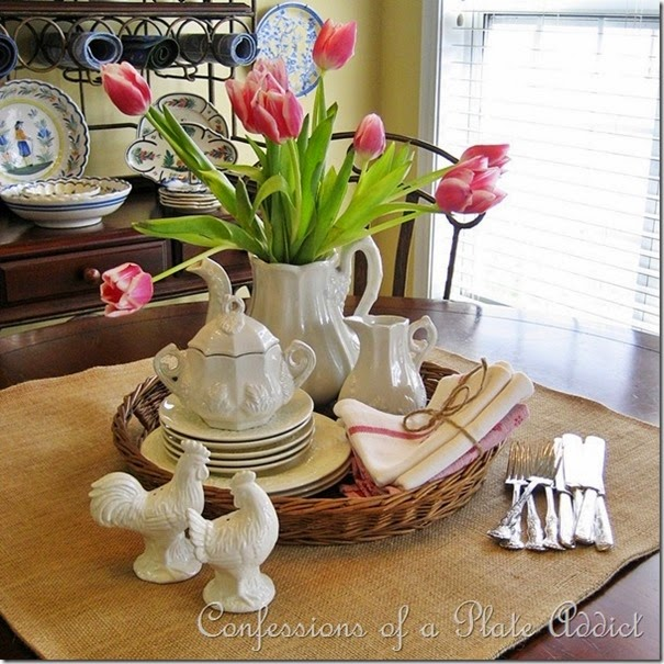 CONFESSIONS OF A PLATE ADDICT Ironstone and Tulips Valentine Centerpiece