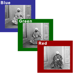 Monochrome negatives containing RGB values