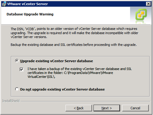 VMware vCenter Server Installer - Database Upgrade Warning