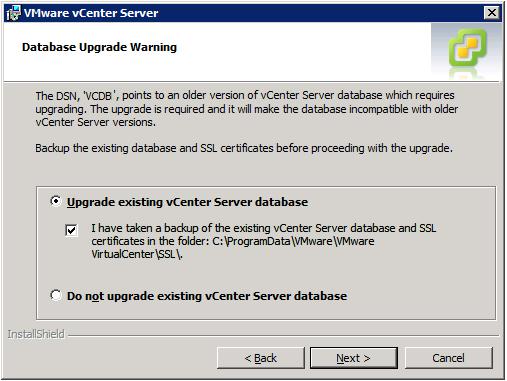 VMware vCenter Server Installer - Database Upgrade Warning