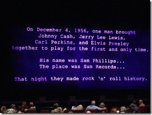Welcome Screen for Million Dollar Quartet