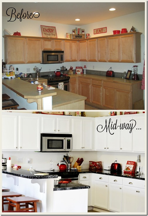 Kitchen makeover before and mid way