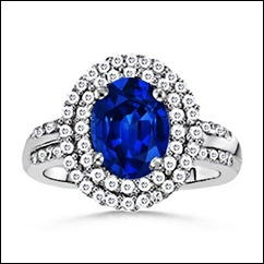 Oval Sapphire and Diamond Border Ring
