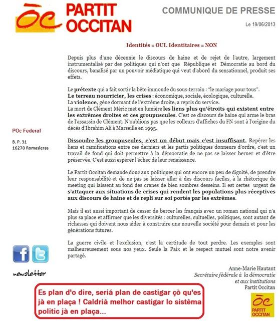 comunicat del Partit Occitan Identitat e identitari -
