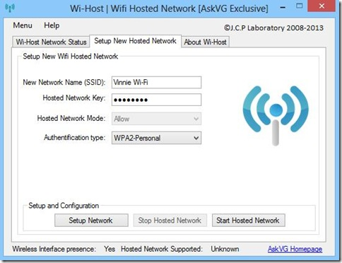 Wi-Host Setup New Hosted Network