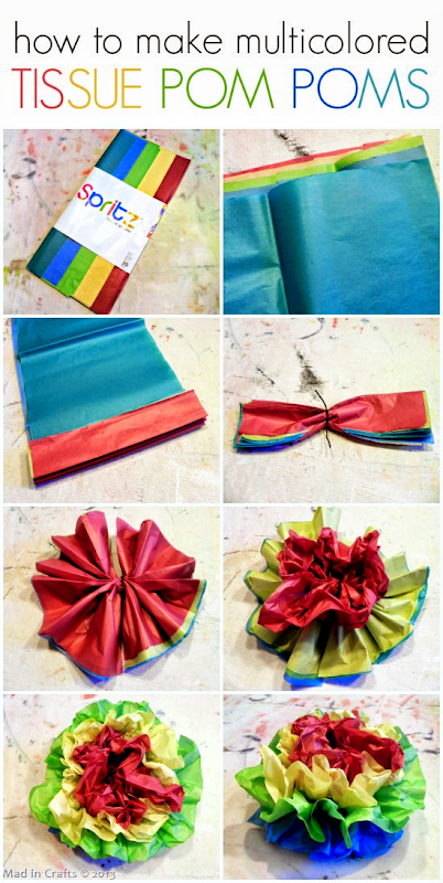 How to Make Multicolored Tissue Pom Poms