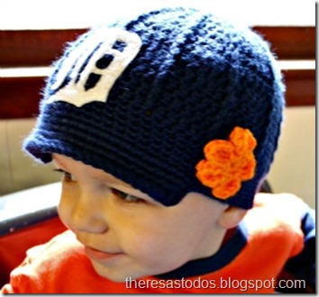 Crocheted Detroit Tiger Hat with flower