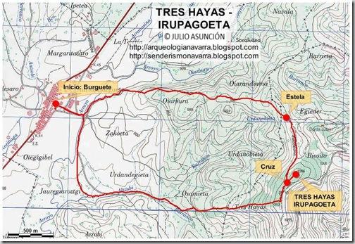 Mapa ruta Tres hayas - Irupagoeta