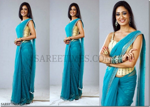 Shweta_Tiwari_Blue_Saree