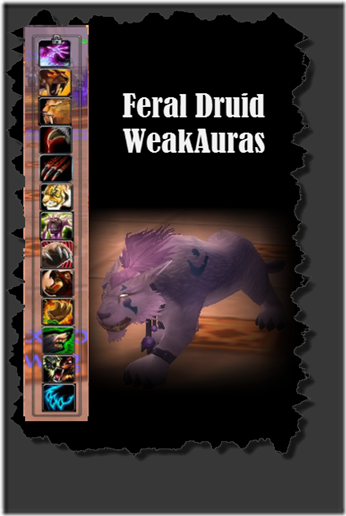 A picture of weakauras and a Feral Druid in Cat Form
