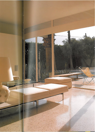 Here's an interior shot of the Wexler & Harris home with original terrazzo floors, which were hidden under unsightly shag carpeting for decades until the current owner discovered them! I considered a similar flooring option but am happy with my final decision to go with bleached wood.
