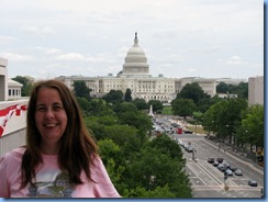 1560 Washington, D.C. - Newseum - Pennsylvania Avenue Terrace - Karen with U.S. Capitol Building in background