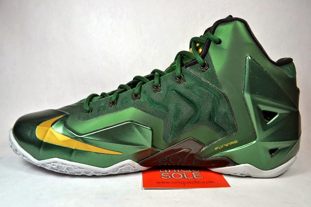 Nike LeBron 11 White Green Gold