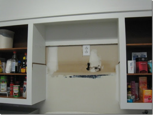 Delightful Next, Anthony Shortened The Back Of The Old Cabinet A Tad More So That He  Could Use The Old Vent Hood Wiring To Put In A New Outlet For The Microwave.  ...