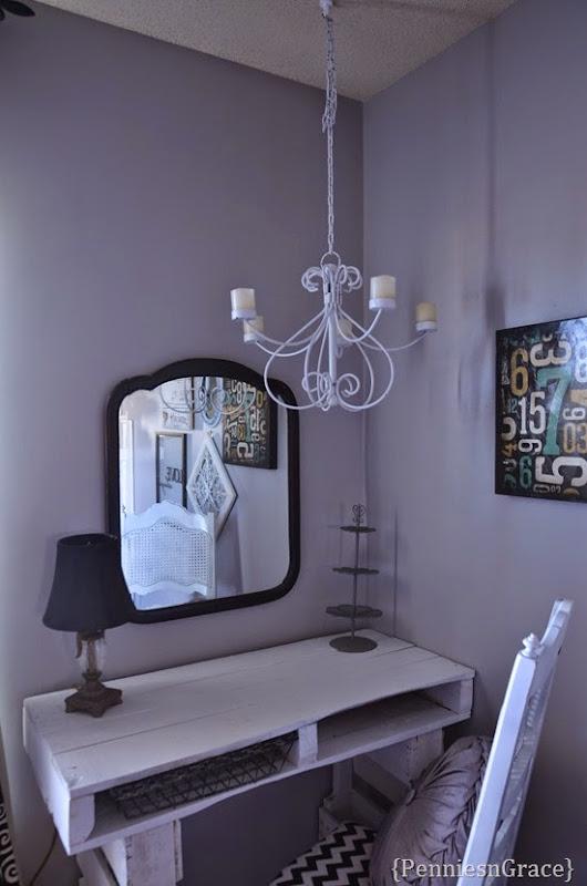 Pallet desk and candelabra