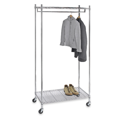 This Commercial Grade Garment Rack from Bed Bath and Beyond is the perfect addition to a mudroom when you are expecting many visitors.