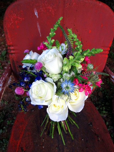 white, pink and blue bouquet