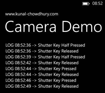 Shutter Key events in Windows Phone Camera