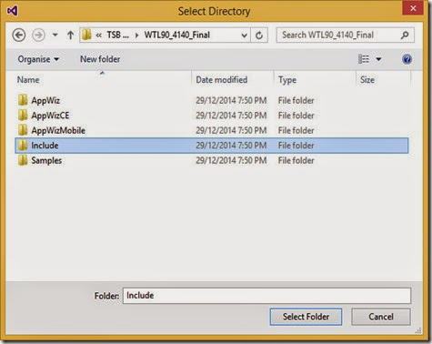 Select WTL Include folder