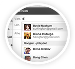 Google+ käyttäjäprofiilit ovat erikseen oman osoitekirjan alapuolella.
