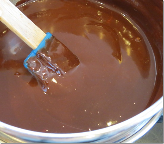Melted chocolate/water and butter