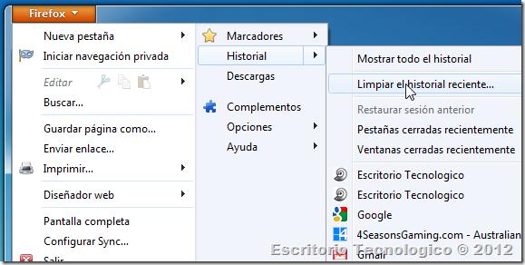 Como borrar el historial: Mozilla Firefox 3