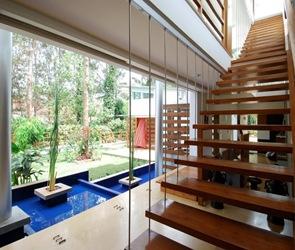 diseño de escaleras peldaños madera casa moderna