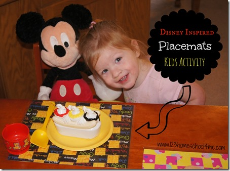 Getting Ready for Disney - Placemat Kids Activity