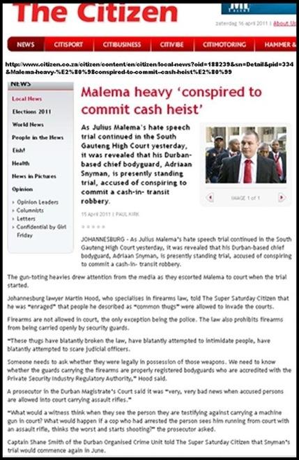 Malema body guard MALEMA GUARD Adriaan Snyman on trial for planning cash heist[3]