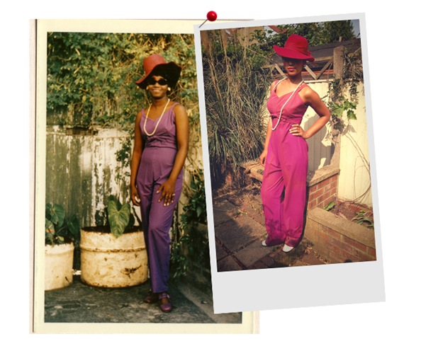 "A Seventies ""These days I wear Mum's pink jumpsuit with sky high wedges and wild untamed hair"" – Hazel, Rag & Bow."