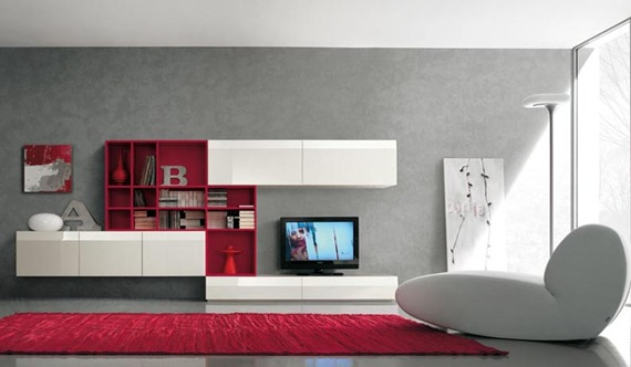 Mueble de TV blanco y rojo