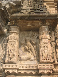 Mahishasurmardini, Durga slaying demon Mahishasura. Though the image is much damaged as of now, however the buffalo demon can be identified without any difficulty. Goddess' spear is shown piercing through the demon's body.