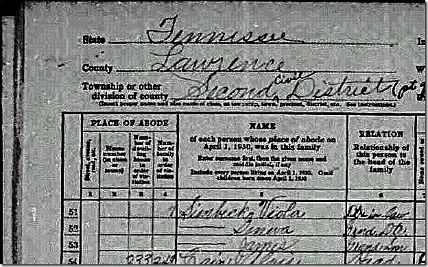 1930 Census Viola Johns Simbeck
