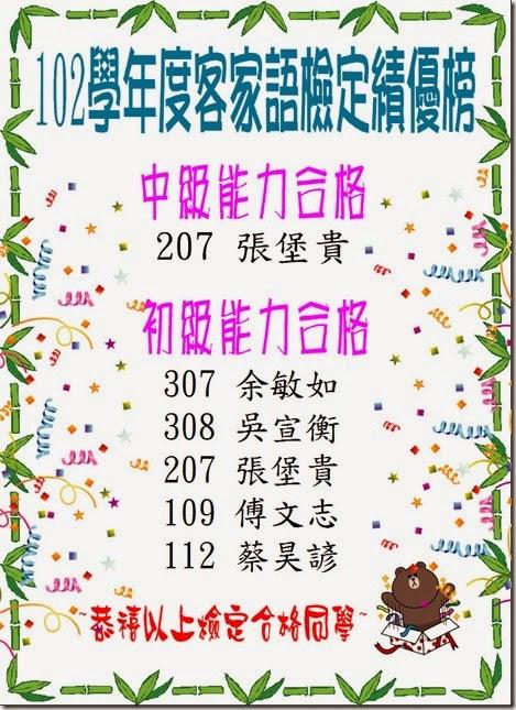(公告用)102學年度客家語檢定績優榜