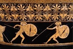 Aquiles pelea con Héctor- Vasija para mezclar agua y vino - Atenas 500-480aC