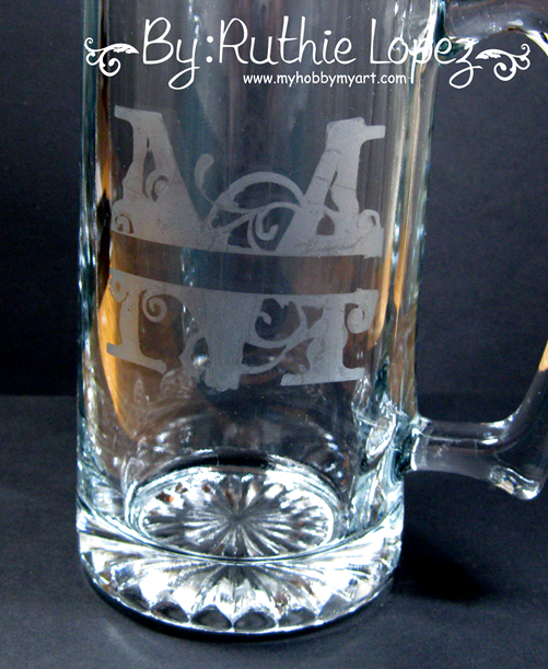 M Monogram - SnapDragon Snippets - Etching Glass - Ruthie Lopez - My Hobby My Art 2