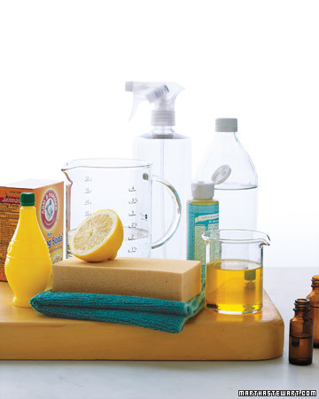 Distilled white vinegar and lemon juice are both excellent for cleaning, deodorizing, and mild bleaching. They are acidic and can eliminate soap scum. Make a window- and mirror-cleaner by mixing equal parts vinegar and water, which also works well on most polyurethane-finished wood floors.