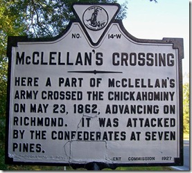 McClellan's Crossing marker W-14 in New Kent County, VA