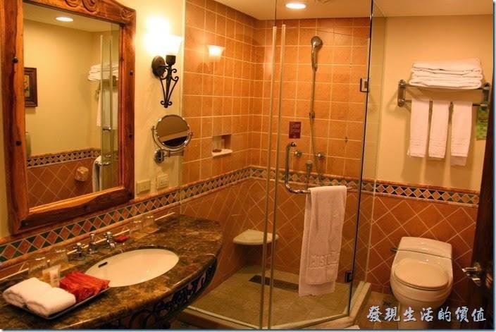 花蓮-理想大地渡假村(房間)。浴室內有乾濕分離的淋浴間,也有浴缸。