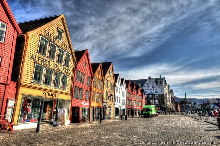 Bryggen colourful houses row Bergen Norway blue skies 2