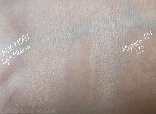 Maybelline FIT ME Puder Swatch, Vergleich mit MAC MSF Natural