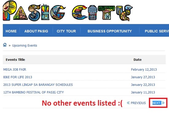 no other events listed