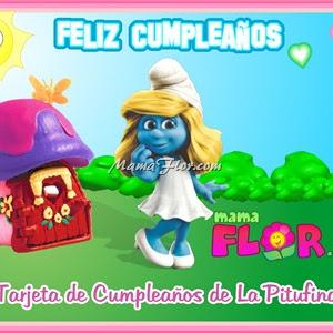 Tarjeta de Cumpleaños de La Pitufina, listo para imprimir