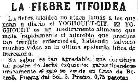 DANONE FIEBRE TIFOIDEA CASA BORELL 1915
