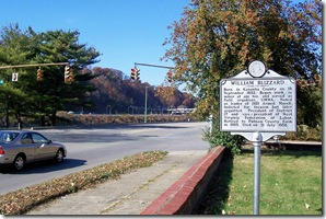William Blizzard marker on Kanawha Boulevard in Charleston, WV