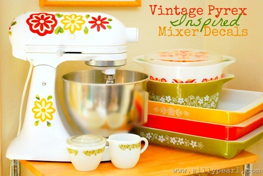 Vintage Pyrex Inspired KitchenAid Mixer Decals by The Silly Pearl