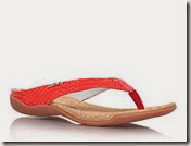 DKNY red leather flat toe post sandals