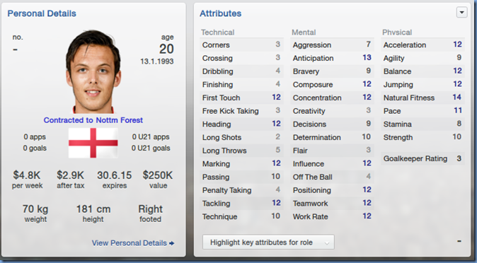Tom Thorpe in Football Manager 2013
