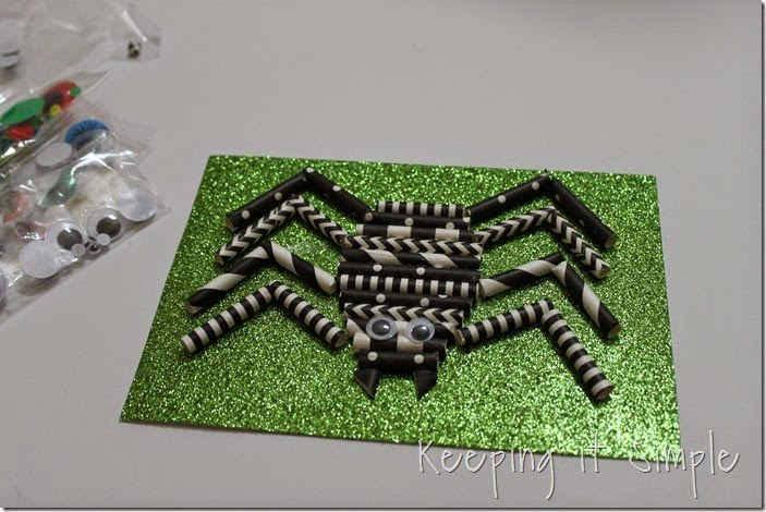 Halloween decoration Paper straw spider (6)