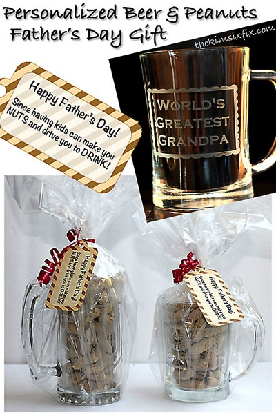 Personalized Beer and Peanuts Fathers Day Gift